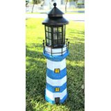 Large Solar Lighthouse (blue and white stripes)