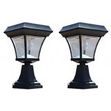 Solar Entrance Post Light with 4 LEDs (set of 2)
