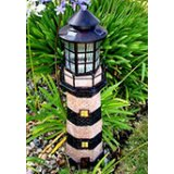 Large Solar Fiberglass Lighthouse (dark green and ivory stripes)