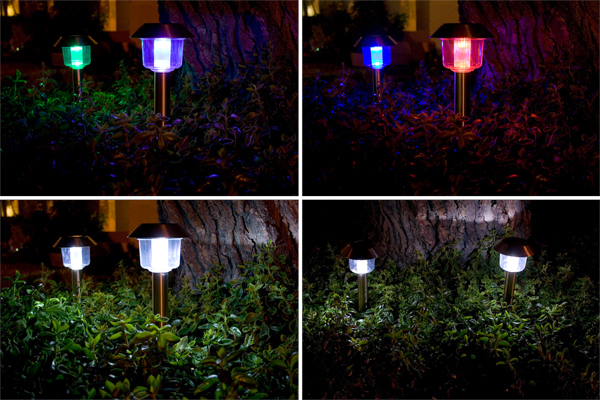 Stainless Steel Color Changing and White Solar Light (Set of 2) - Click Image to Close