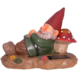 Solar Garden Gnome Sleeping on Mushroom