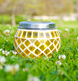Solar Glass Mosaic Pot Light (Yellow)
